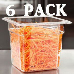 6 Pack 1 6 Size Clear Plastic Steam Prep Table Food Pan 6 Deep Polycarbonate