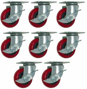 8 Pack 3 Caster Wheels With Brake Lock Swivel Polyurethane Plate