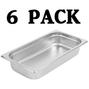 6 Pack 1 3 Size Stainless Steel Steam Prep Table Commercial Food Pan 2 1 2 Deep