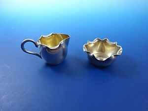 Silver Plated Miniature Sugar Bowl And Creamer Set With Gold Wash Bowl 1206