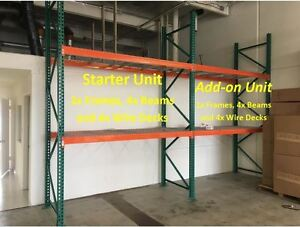 Warehouse Storage Rack And Shelving Starter Kit 42x96x144 2 Beam Levels 4k Cap