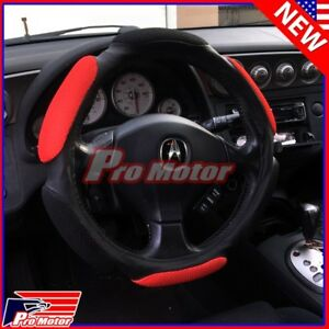 Hand Pad Buffer Cushion Red Black Slip on Steering Wheel Cover Protector Leather