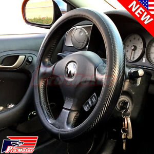 2020 Premium Blue Carbon Fiber Leather Steering Wheel Cover Protector Slip on