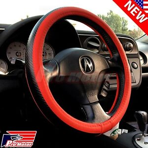 Red Premium 3d Carbon Fiber Leather Steering Wheel Cover Protector Slip On Jdm X