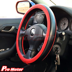 Jdm Premium Black Carbon Fiber Leather Steering Wheel Cover Protector Slip On P5