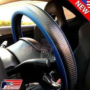 Jdm Premium Blue Carbon Fiber Leather Steering Wheel Cover Protector Slip On P3