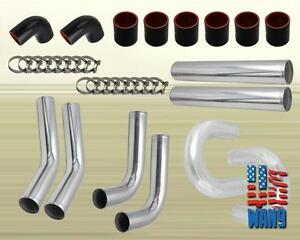 Jdm Black 3 Inches 76mm Turbo supercharger Intercooler Polish Pipe Piping Kit