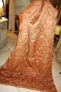 Antique French Wool Filled Boutis Quilt Bed Throw Blanket