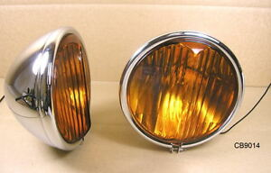 1939 Pontiac All Special Deluxe Fog Lamp With Painted Brackets Pair Cb90140rs