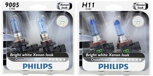 4x Philips 9005 H11 Xenon Super Bright White Crystal Vision Power Light Bulb 65w