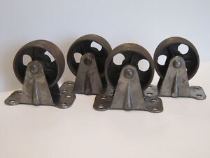 Set Of 4 Vintage Steel Cast Iron Industrial Caster Wheels New Old Stock Metal