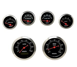 6 Gauge Hot Rod Street Rod Universal Dash Set Programmable Speedometer Black