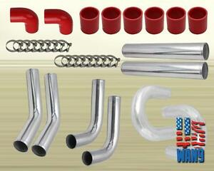 3 76mm 2 5 Inch Turbo Intercooler Aluminum Pipe Silicone Hose Kit Silver Red