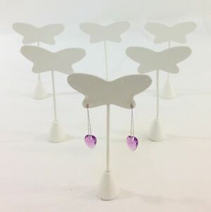 12pc White Leather Butterfly 4prs 8 Holes Earring Stand Jewelry Showcase Display
