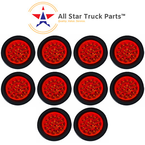 4 Red 18 Led Round Stop Turn Tail Truck Light With Grommet Pigtail Qty 10