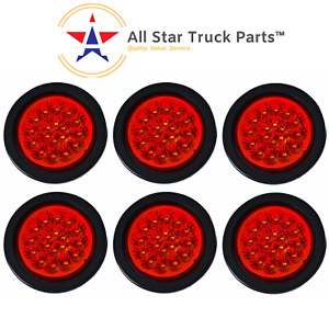 4 Red 18 Led Round Stop Turn Tail Truck Light With Grommet Pigtail Qty 6