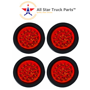 4 Red 18 Led Round Stop Turn Tail Truck Light With Grommet Pigtail Qty 4