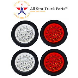 4 18 Led Round Stop Turn Tail Backup Reverse Truck Lights 2 Red