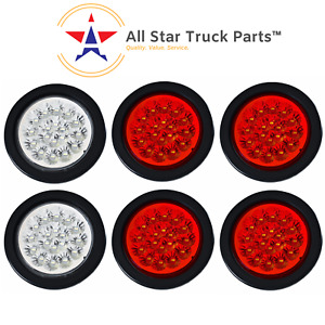 4 18 Led Round Stop Turn Tail Backup Reverse Truck Lights 4 Red 2 White