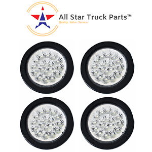 4 White 18 Led Round Reverse Backup Tail Truck Light With Grommet Wiring Qty 4