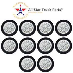 4 White 18 Led Round Reverse Backup Tail Truck Light With Grommet Wiring Qty10