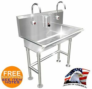 Hand Wash Sink 2 Station 40 Electronic Faucet Free Standing Made In America