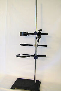 Lab Stand Set Rack Clamp Physics Chemistry Biology Sqaure Base 24 Height New