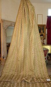 Huge 15 Pc Set French Antique Woven Silk Drapes Valances Swags Bed Cover