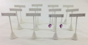 12pc White Leatherette Tbar Shape Earring Stand Jewelry Showcase Display 6 h