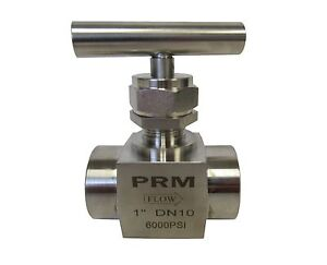 New Prm Needle Valve 1 Npt 304 Stainless Steel 6000 Psi