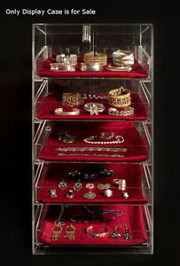 5 Tier Acrylic Craft jewelry Display Case W removable Trays 12 w X 14 d X 23 h