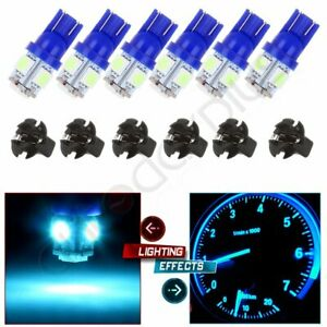 6pcs Ice Blue T10 Led 168 194 5 8 Socket Guage Dash Instrument Panel Light Bulb