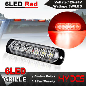 Red 6 Led 12 24v Ultra Slim 18w Surface Mount Flashing Strobe Light Car Suv