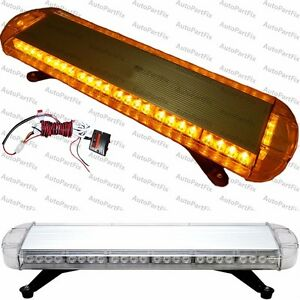 30 In 56 led Amber Emergency Warning Truck Strobe Light Tow Roof Bolt Bar Yellow