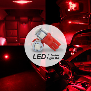 10x T10 W5wb 168st 194na Red 5 led License Plate Interior Dome Map Lights Bulbs