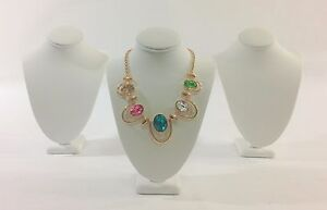 3pc White Leather Quality Wood Necklace Bust Stand Jewelry Showcase Display 11 h