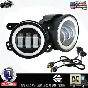2x 4inch Led Fog Light With Drl For Dodge Cruiser Chrysler 300 Jeep Wrangler Jk