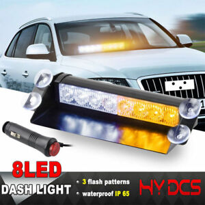 8led Car Truck Emergency Warning Dash Flash Strobe Light Bar 12v Yellow A White