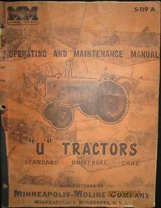 Minneapolis moline u Tractors Standard Universal Operation Maintenance Manual