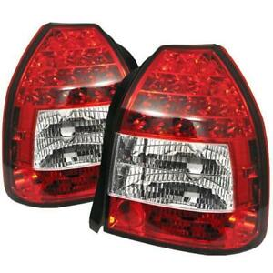 Spyder Auto 1996 2000 Honda Civic 3dr Hatch Red Clear Led Tail Lights Set