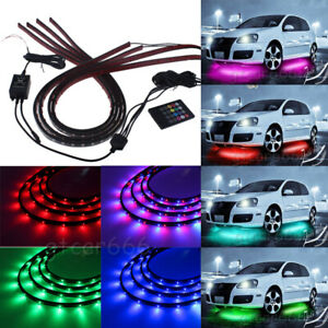 4 Under Car Rgb Led Strip Tube Underbody Underglow Glow Neon Light System
