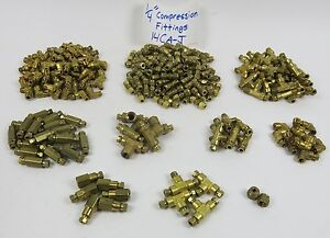 Brass Compression Fittings 1 4 262pcs Elbows Unions Tees Npt Pipe Thread Lot