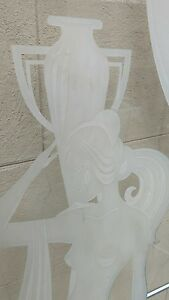 Large Art Deco Glass Panels Etched Female Nude Neoclassical