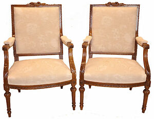 Authentic Antique Pair Of French Louis Xvi Walnut Bergere Chairs 19th C