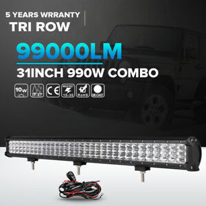 Tri Row Cree 990w 31inch Led Light Bar Spot Flood Suv For Jeep Truck Ute Atv 30