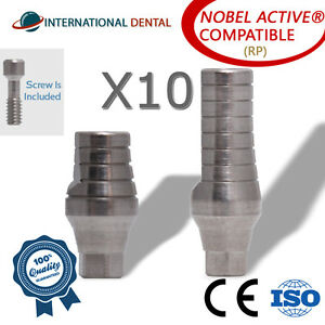 10 Straight Abutment rp For Nobel Biocare Active Hex Dental Implant