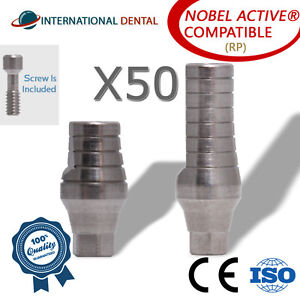 50 Straight Abutment rp For Nobel Biocare Active Hex Dental Implant