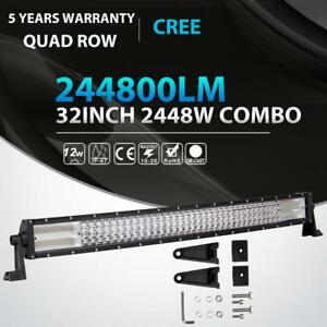 Quad Row 32 inch 2160w Curved Cree Led Light Bar Combo Offroad 4wd Truck Jeep 36