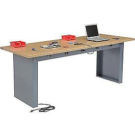 96 w X 36 d Panel Leg Workbench With Power Apron And Shop Top Square Edge Top