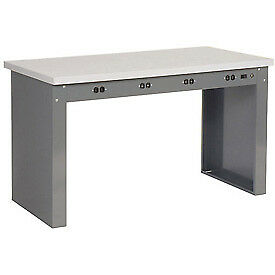 96 w X 30 d Panel Leg Workbench With Power Apron And Plastic Laminate Square